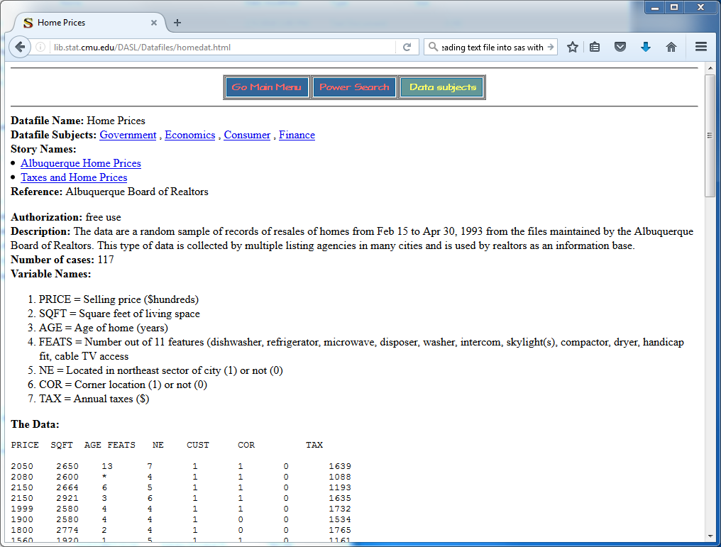Screenshot of the website  lib.stat.cmu.edu/DASL/Datafiles/homedat.html